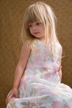 Posing Young Blond Toddler Stock Photo