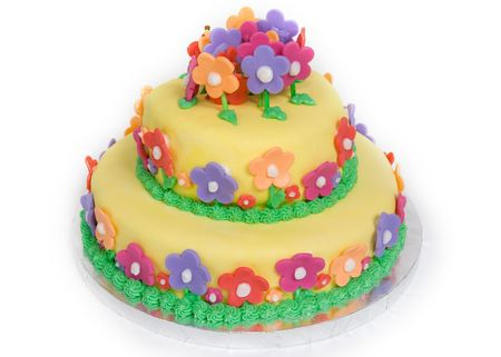 Spring Flower Cake on White