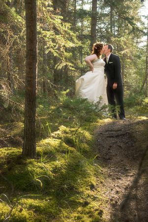 Bride and Groom in Forest with Soft Focus 2 Stock Photo