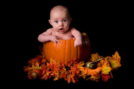 large pumpkin: Baby in Large Pumpkin Isolated on Black