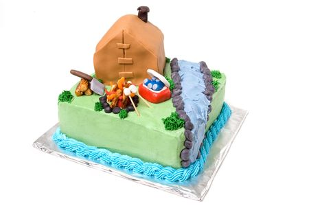 Theme Camping Cake on White