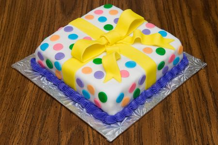 Polka-Dotted Wrapped Birthday Cake