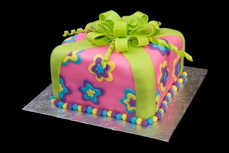 Colorful Package Cake Isolated on Black