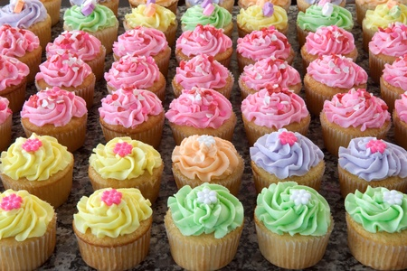 Rows of Pastel Colored Romantic Cupcakes
