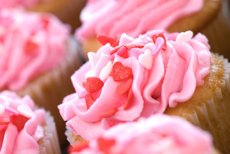 Pink Valentine Cupcakes with Sprinkles Stock Photo - 9064609