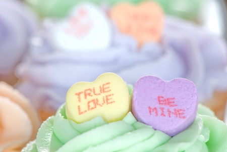 Candy Hearts on Cupcakes photo