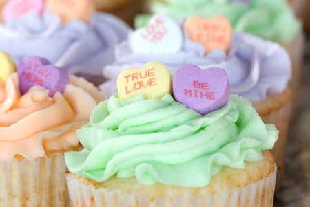 Candy Hearts on Cupcakes Stock Photo - 9064601