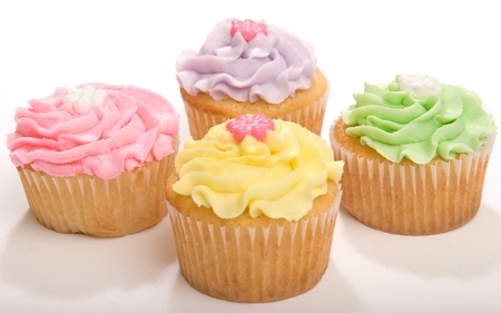 Four Pastel Cupcakes Stock Photo - 9064599