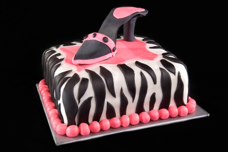 fondant fancy: High Heel Shoe on Zebra Print Cake Stock Photo