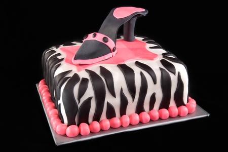 High Heel Shoe on Zebra Print Cake Stock Photo