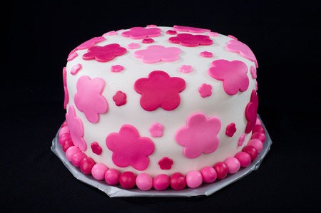 Fondant Cake with Pink Flowers Stock Photo