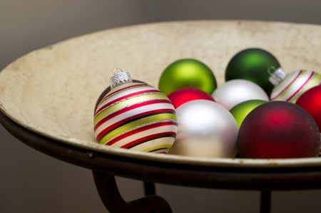 Christmas Oranments in Bowl