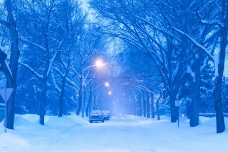 Winter Scene On Residential Street in Edmonton, Alberta, Canada