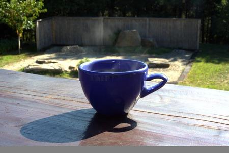 karesansui: Cup of tea against Karesansui Japanese old traditional style rock garden