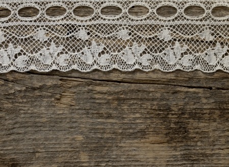 lace fabric: vintage lace on the wooden background