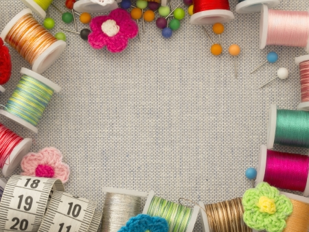 sewing supplies: border made of sewing tools