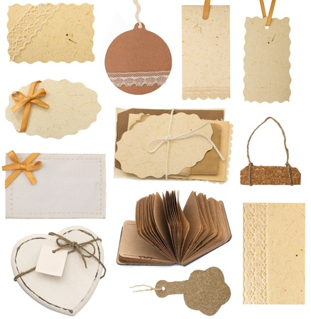 collection of tags and blank backgrounds Stock Photo