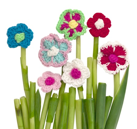 crocheted flowers isolated Stock Photo