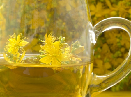 st  john: St John s wort tea Stock Photo