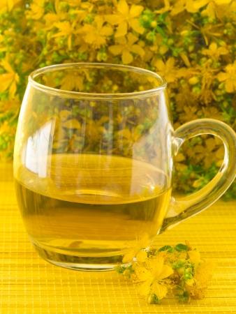 st john: St John s wort tea Stock Photo