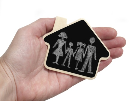 family in the hand, concept of safe photo