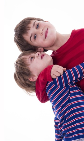 two brothers hugging