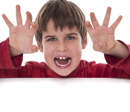 scare: boy trying to scare someone
