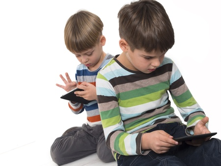 boys with tablets Stock Photo