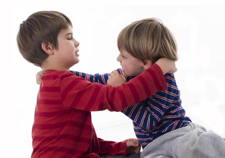 violent: brothers fighting Stock Photo