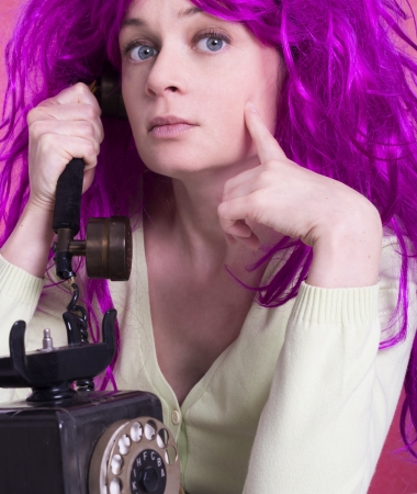 woman with funny wig photo