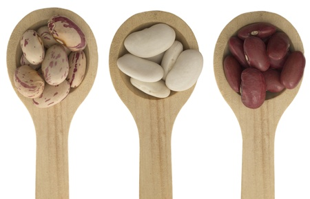 beans on the wooden spoons photo