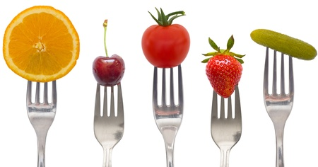 diet concept, snacks of vegetables and fruits