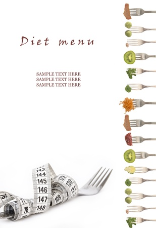 food background: diet menu with place for your text