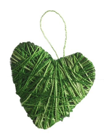 green handmade textile heart photo