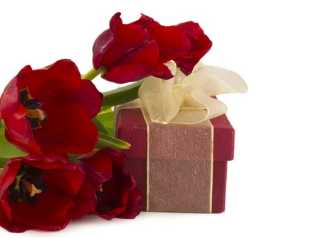 gift box with tulips