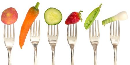 フォークで野菜食事概念