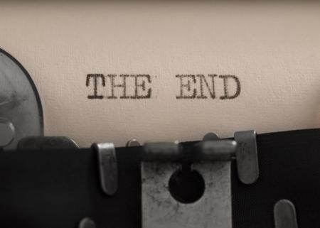 タイプライターのエンド タイトル 写真素材