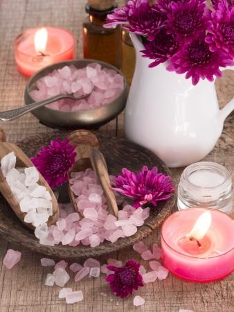 productos de belleza: rosa acuerdo spa Foto de archivo