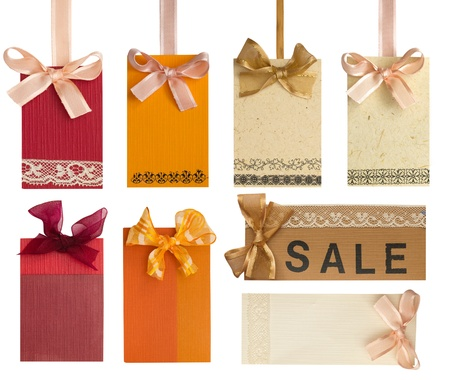 collection of beautiful tags with lace Stock Photo