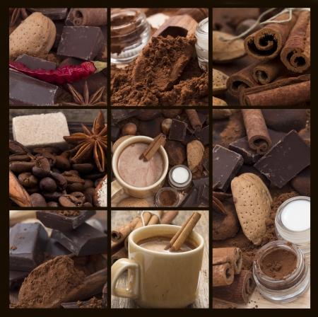 ホット チョコレートのコラージュ