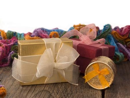 arrangment: gift boxes in the retro arrangment