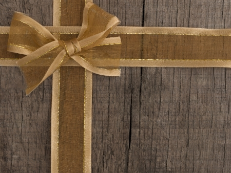 bow on the wooden background