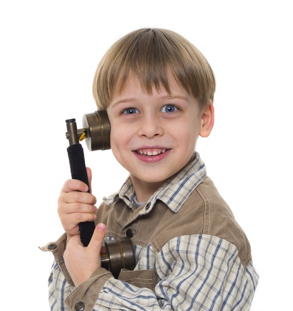 young boy talking by old, vintage phone Stock Photo - 18245325