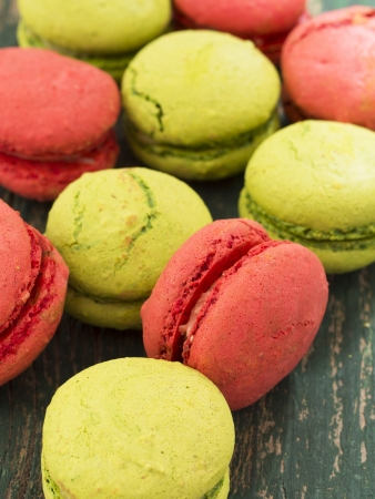 tasteful: colorful and tasteful macaroons on wooden table Stock Photo