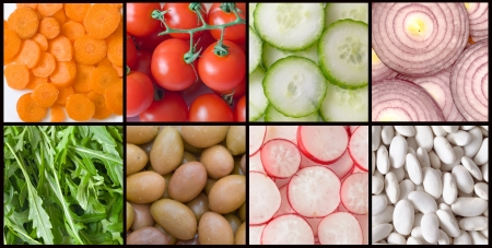 collage of vegetables for salad