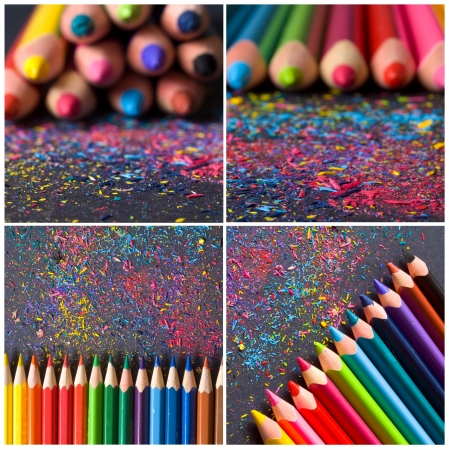 colored pencils with shaving, collage  Stock Photo - 18310625
