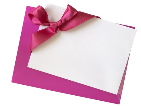 and pink ribbon: blank pink paper note with ribbon Stock Photo