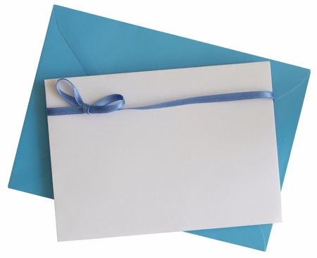 blank blue paper note with ribbon Stock Photo