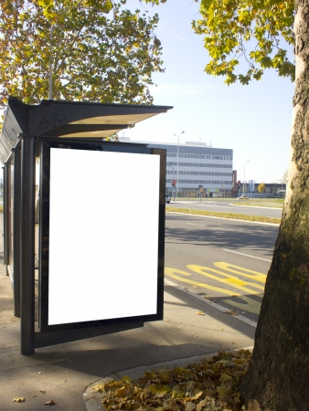 city light on the bus stop, blank space for your ad  photo