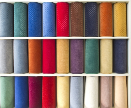 carpet and flooring: colorful carpets samples on the shelves Stock Photo